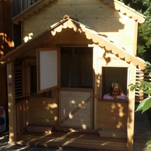 10 ft. x 6 ft. Little Alexandra Cottage Playhouse with Loft and Covered Front Porch by Canadian Playhouse Factory - Kids Playhouse World