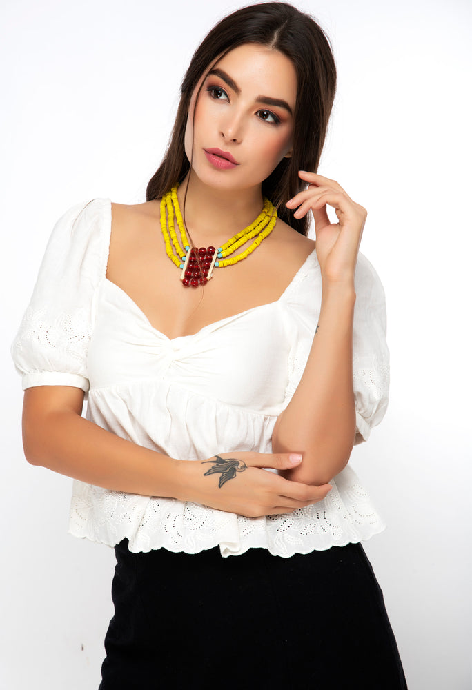Naga yellow beaded necklace