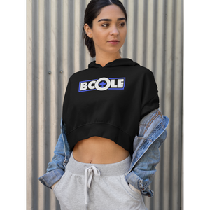 "B. Cole ""Classic"" Crop Hoodie - Black/ White/Royal blue"