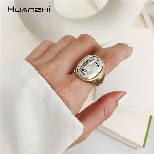 Big Round Finger Rings Portrait  Personality Geometric for Women Party Jewelry Gifts