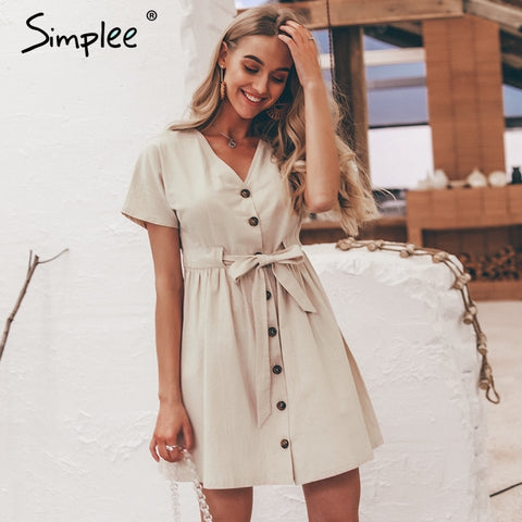 Simplee Vintage button women dress shirt V neck short sleeve cotton linen short summer dresses Casual korean vestidos 2019 festa - PrintiLya