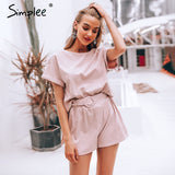 Simplee Solid co-ordinates jumpsuit romper Women streetwear overalls playsuit Ladies top shirt overalls short jumpsuit 2019 - PrintiLya
