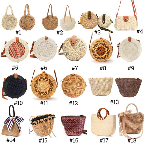 2019 Women Vintage Beach Straw Bag Ladies Handmade Woven Rattan Messenger Handbag Summer Bali Bohemian Crossbody Shoulder Bag - PrintiLya