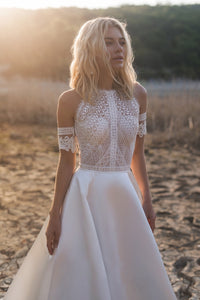 Bohemian Wedding Dresses  Lace Satin Bridal Gowns Button Back A-Line Wedding Dress - PrintiLya
