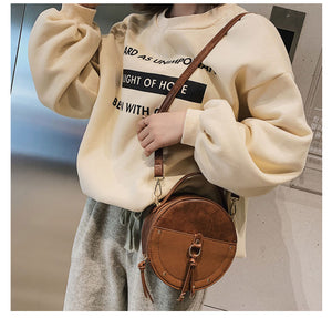 Vintage Scrub Leather Round Designer Crossbody Bag For Women 2019 PU Leather Shoulder Bags Ladies Small Handbags Mini Tote Bag - PrintiLya