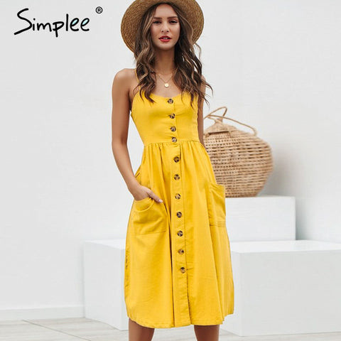 Simplee Elegant button women dress Pocket polka dots yellow cotton midi dress Summer casual female plus size lady beach vestidos - PrintiLya