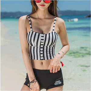 Crop Top Cami Tank Top Women Female Slimming Movement Striped Women Top Sexy Cropped Tops Tank Elasticity Women Feminino Bustier - PrintiLya