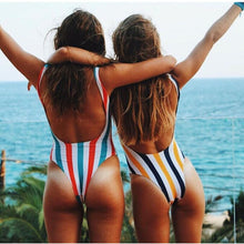 Load image into Gallery viewer, 2019 Striped Swimwear One Piece Swimsuit Women Backless Monokini Swimsuit Sport Bodysuit Beach Bathing Suit Swim Red White - PrintiLya