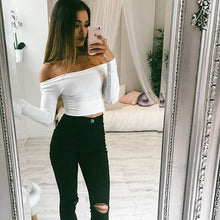 Load image into Gallery viewer, Women Off Shoulder Crop Top T Shirts Long Sleeve Short T-shirts For Women Clothing Fashion Black T-shirt Tops Tees Korean Style - PrintiLya
