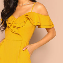 Load image into Gallery viewer, SHEIN Cold Shoulder Layered Flounce Foldover Palazzo Jumpsuit Party Ruffle Spaghetti Strap Sleeveless Women Summer Jumpsuits - PrintiLya