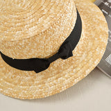 2019 summer Flat sun hats for women chapeau feminino straw hat panama style cappelli Side with bow Beach bucket cap girl topee - PrintiLya