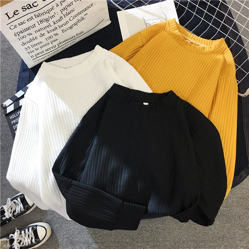 Sweater Women 2020 Autumn Winter New Solid Color Base Sweater Long Sleeve O Neck Fashion Loose Harajuku Slim Sweater Female Tops - PrintiLya