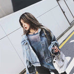Women bat sleeve tassel short loose burr denim jacket Female Fashion new boyfrieds outwear 2020 Autumn Streetwear jean coat - PrintiLya