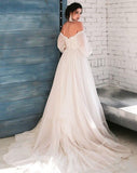 Boho Ivory Wedding Dress A-Line Appliques Puff Sleeves Bride Dress  White Lace Top Wedding Gown - PrintiLya
