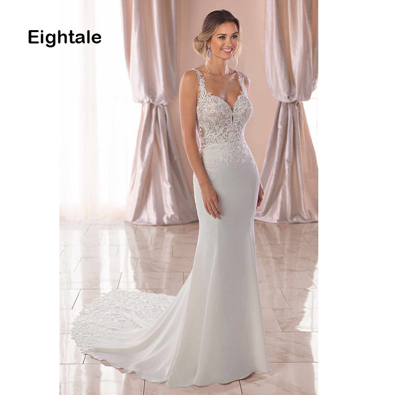 Mermaid Boho Wedding Dresses Sweetheart Appliques Lace Chiffon Wedding Gowns Backless Bride Dress - PrintiLya