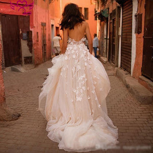 Princess Wedding Dress Sweetheart Appliqued with Flowers A-Line Tulle Backless Boho Wedding Gown - PrintiLya