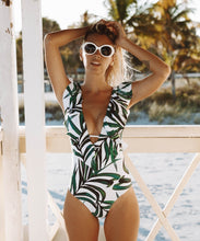 Load image into Gallery viewer, 2019 Sexy Ruffle One Piece Swimsuit Women Swimwear Push Up Monokini Bodysuit Print Swim Suit Backless Bathing Suit Beach Wear - PrintiLya