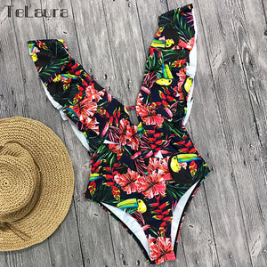2019 Sexy Ruffle One Piece Swimsuit Women Swimwear Push Up Monokini Bodysuit Print Swim Suit Backless Bathing Suit Beach Wear - PrintiLya