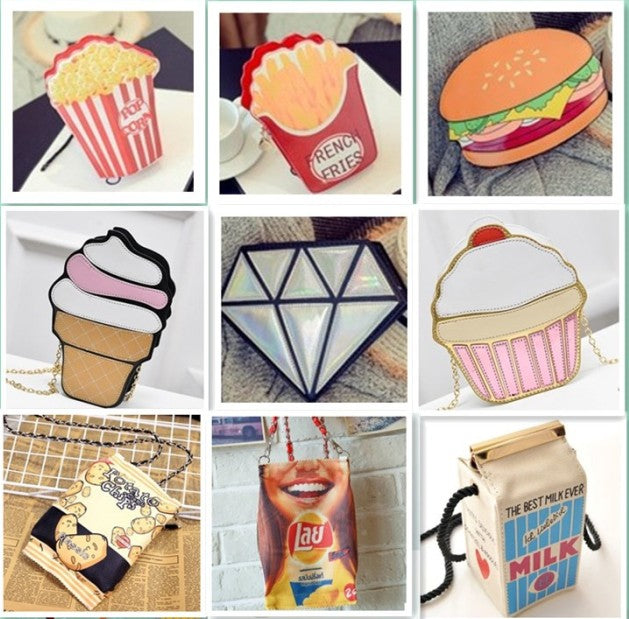 Creative Style Hamburger Ice Cream Popcorn Fries 3D shoulder bags