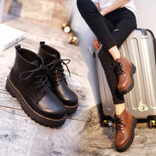 Load image into Gallery viewer, Round Toe Lace Up Flat Women Boots