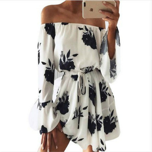 Women Summer 2019 Sexy Beach Floral Loose Print Full Natural vestidos Flare Sleeve Off the Shoulder Flare Sleeve Casual Dresses - PrintiLya