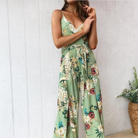 Lossky Jumpsuits Summer Women Rompers 2019 Sexy Party Beach  Sleeveless Floral Long Bodysuit Casual Feminino Playsuit - PrintiLya