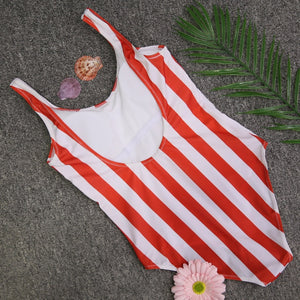 2019 Striped Swimwear One Piece Swimsuit Women Backless Monokini Swimsuit Sport Bodysuit Beach Bathing Suit Swim Red White - PrintiLya