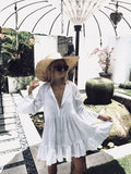 2019 Women Swimsuit Cover Up Sleeve Kaftan Beach Tunic Dress Robe De Plage Solid White Cotton Pareo Beach High Collar Cover Up - PrintiLya