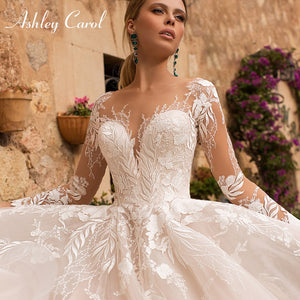 Sexy V-neck Appliques Tulle Wedding Dress Illusion Backless Long Sleeve Princess Boho Lace Wedding Gowns - PrintiLya