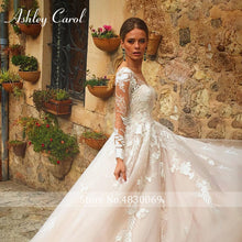 Load image into Gallery viewer, Sexy V-neck Appliques Tulle Wedding Dress Illusion Backless Long Sleeve Princess Boho Lace Wedding Gowns - PrintiLya