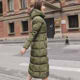 2020 Winter Women Jacket X-long Hooded Cotton Padded Female Coat High Quality Warm Outwear Womens - PrintiLya