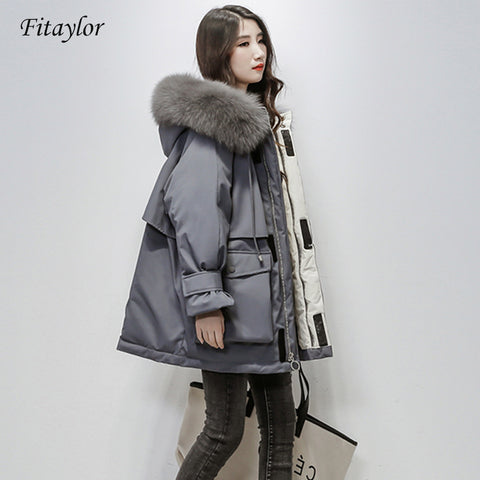 Fitaylor Large Natural Fox Fur Hooded Winter Jacket Women 90% White Duck Down Thick Parkas Warm Sash Tie Up Snow Coat - PrintiLya