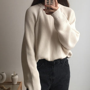 Korean Fashion Ladies Full Sleeve Women Knitting Sweater Solid O-Neck Pullover And Jumper Loose Sweater - PrintiLya