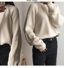 Load image into Gallery viewer, Korean Fashion Ladies Full Sleeve Women Knitting Sweater Solid O-Neck Pullover And Jumper Loose Sweater - PrintiLya