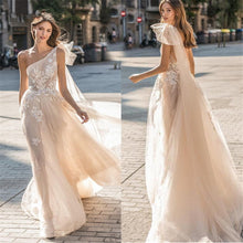 Load image into Gallery viewer, Beach Wedding Dresses A Line Sleeveless sexy Bridal Gowns Tulle Wedding Dress - PrintiLya