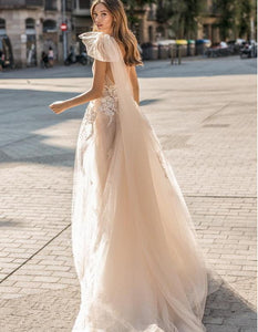 Beach Wedding Dresses A Line Sleeveless sexy Bridal Gowns Tulle Wedding Dress - PrintiLya