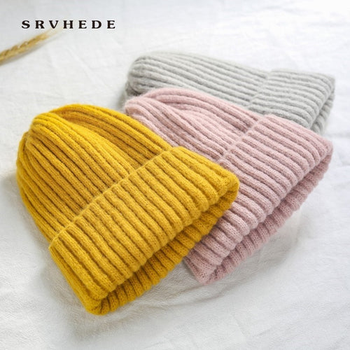 Winter Soft Thicken Wool Knit Beanie for Women