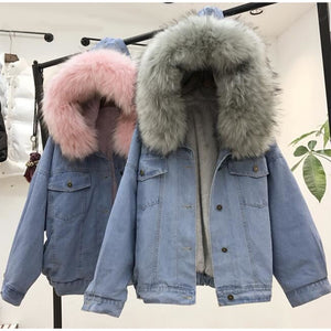 Women's Denim Jacket With Fur Winter Jeans Hooded Velvet Coat Female Faux Fur Collar 2020 Padded Warm Jackets Bomber Windbreake - PrintiLya