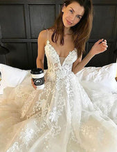 Load image into Gallery viewer, Lace Boho Wedding Dresses  Spaghetti Straps V-neck Wedding Gowns Beach Bride Dress - PrintiLya