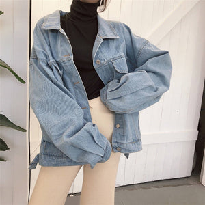 Women Harajuku Boyfriend Basic Denim Jacket Long Sleeve Loose Female Jean Coat Plus Size Vintage Outwear Streetwear 2020 - PrintiLya