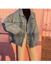 Load image into Gallery viewer, Women Harajuku Boyfriend Basic Denim Jacket Long Sleeve Loose Female Jean Coat Plus Size Vintage Outwear Streetwear 2020 - PrintiLya