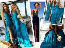 Load image into Gallery viewer, Sexy Slit Champagne Gold Bridesmaid Dresses Long Chiffon V Neck Formal Prom Party Gown - PrintiLya