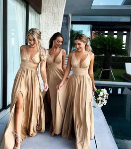 Sexy Slit Champagne Gold Bridesmaid Dresses Long Chiffon V Neck Formal Prom Party Gown - PrintiLya