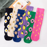 Socks funny cute cartoon fruits banana avocado lemon egg cookies Donuts food happy Japanese Harajuku skateboard Socks - PrintiLya