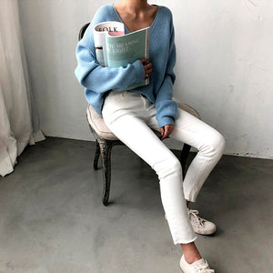 New 2020 Autumn Winter Women's Sweaters V-Neck Minimalist Tops Fashionable Korean Style Knitting Casual Solid - PrintiLya