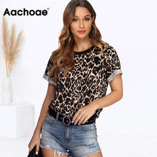 Load image into Gallery viewer, Women Summer T shirt 2020 Fashion Leopard T Shirt Short Sleeve Casual Tops Tees Plus Size Sexy Streetwear T-shirt - PrintiLya