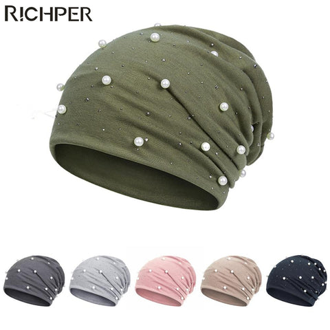 Fashion Solid Pearl Beanies for Women Cotton Skullies