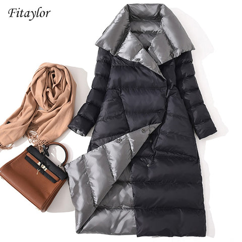 Fitaylor Women Double Sided Down Long Jacket Winter Turtleneck White Duck Down Coat Double Breasted Warm Parkas Snow Outwear - PrintiLya