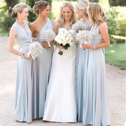 New Light Covertible Bridesmaid Dresses Pleated Floor length Country Beach Wedding Guest Party Gowns Cheap Long Prom Dress - PrintiLya