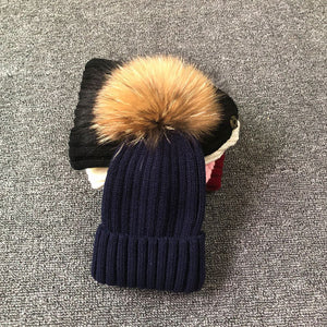 Winter Female Fur Knitted Beanies Cap Hat